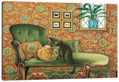 Spiro & Blossom On Chaise Longue Canvas Art Print