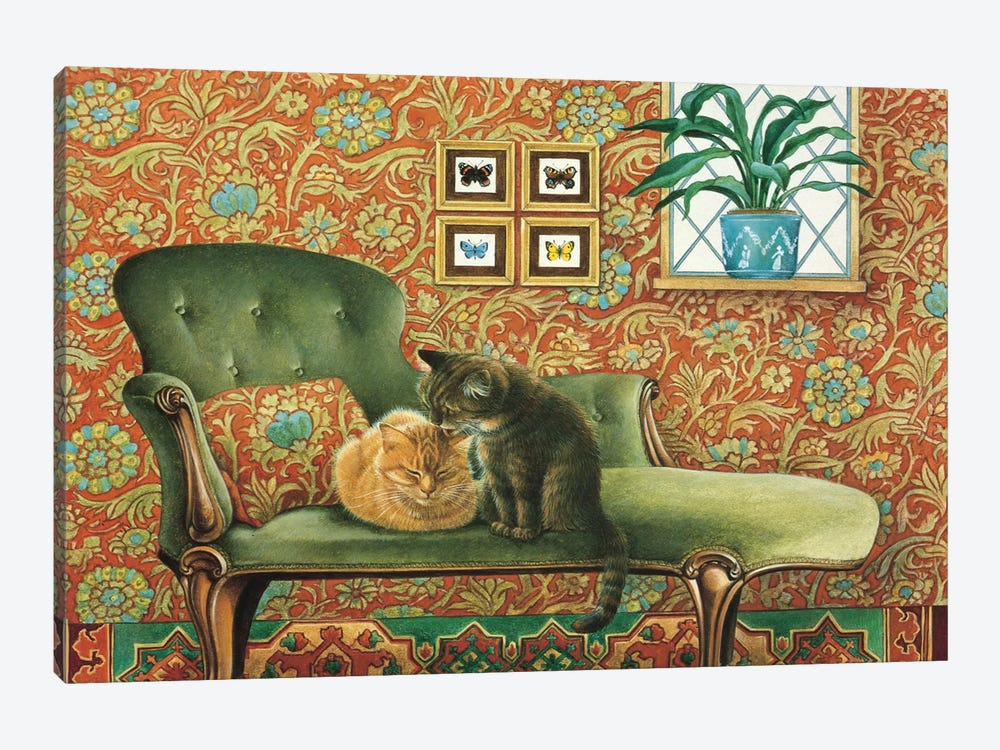 Spiro & Blossom On Chaise Longue by Ivory Cats 1-piece Canvas Wall Art