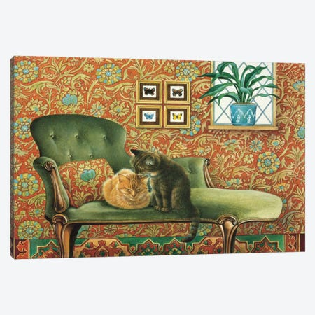 Spiro & Blossom On Chaise Longue 3-Piece Canvas #IVR45} by Ivory Cats Canvas Art
