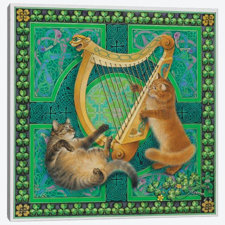 St Patrick's Day With Dandelion & Christie Canvas Print #IVR46} by Ivory cats Canvas Art
