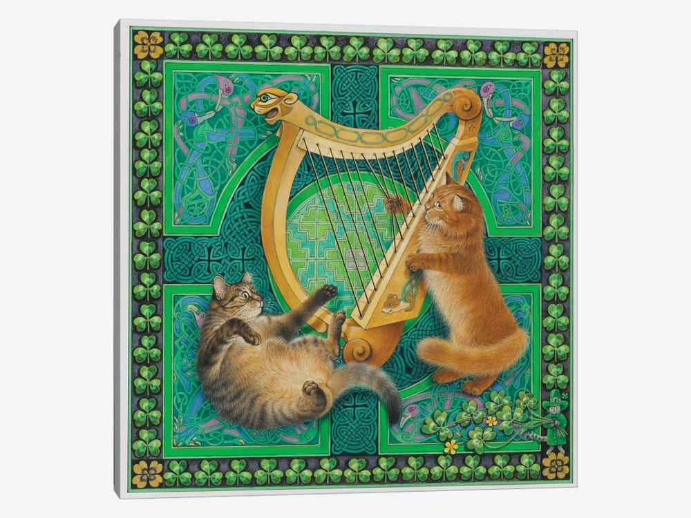 St Patrick's Day With Dandelion & Christie by Ivory Cats 1-piece Canvas Print