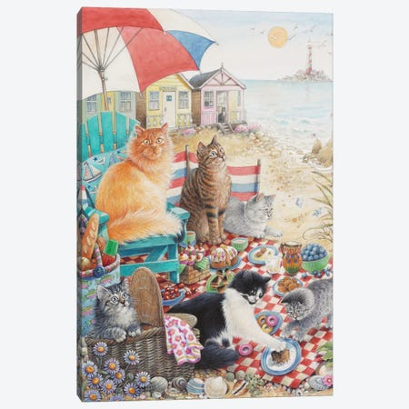 Summer Picnic With Dandelion Zelly & Mumu Canvas Print #IVR47} by Ivory Cats Canvas Artwork