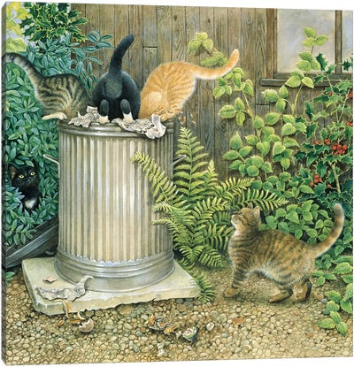 Teamwork In A Neighbouring Dustbin Canvas Art Print