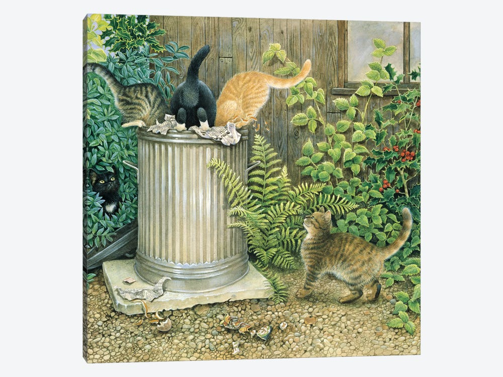 Teamwork In A Neighbouring Dustbin by Ivory Cats 1-piece Canvas Artwork
