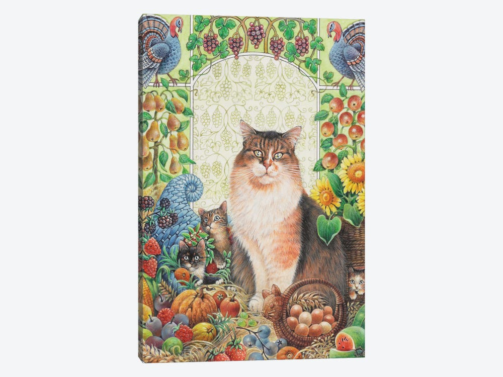 Thanksgiving With Agneatha And Her Kittens by Ivory Cats 1-piece Canvas Art