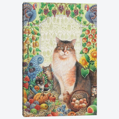 Thanksgiving With Agneatha And Her Kittens 3-Piece Canvas #IVR50} by Ivory Cats Canvas Artwork
