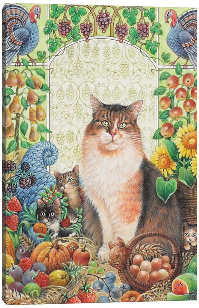 Thanksgiving With Agneatha And Her Kittens Canvas Art Print