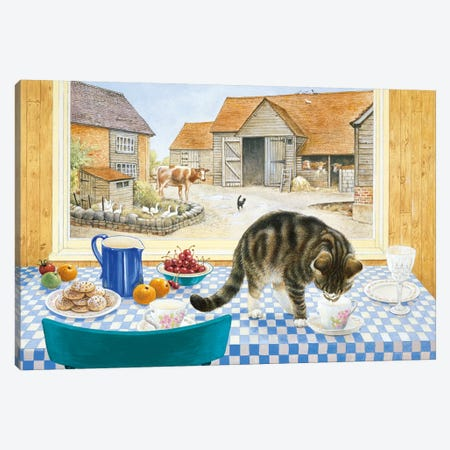 Twiglet On The Table 3-Piece Canvas #IVR52} by Ivory Cats Canvas Artwork