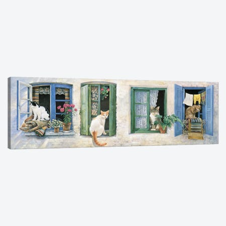 Two Greek Cats Canvas Print #IVR53} by Ivory Cats Canvas Art