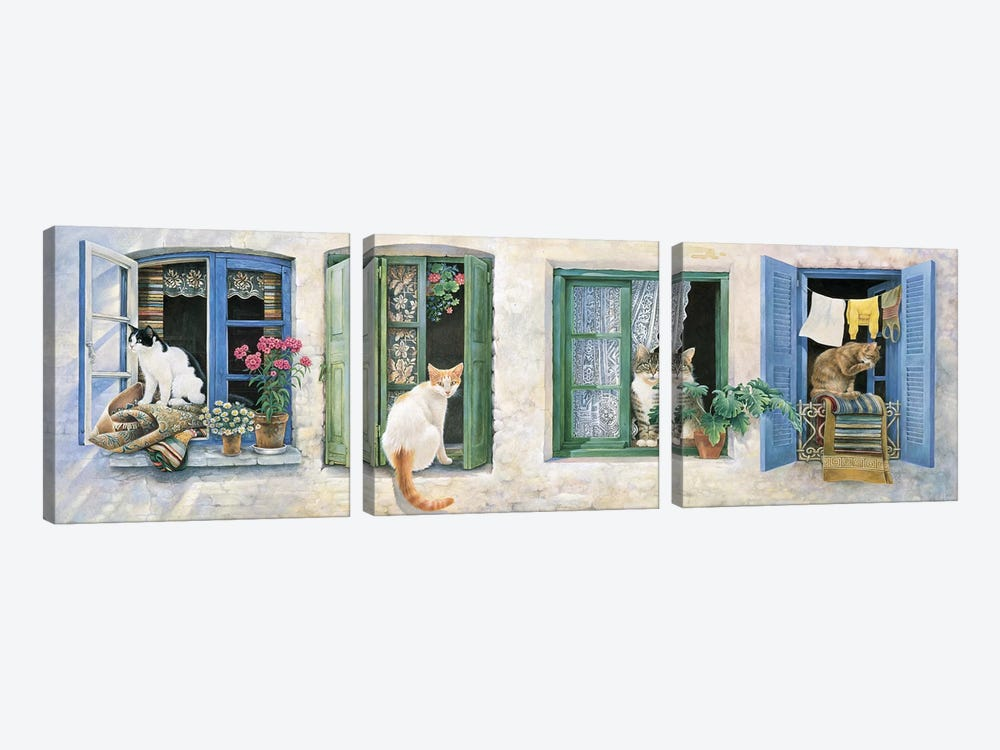 Two Greek Cats by Ivory Cats 3-piece Canvas Print