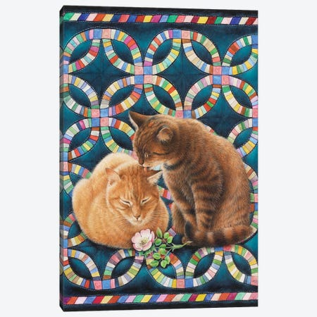 Valentine's Day With Spiro And Blossom 3-Piece Canvas #IVR54} by Ivory Cats Canvas Art Print