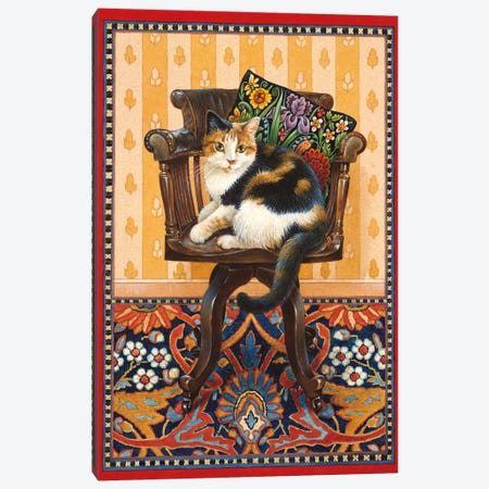 Becky On My Father's Desk Chair Canvas Print #IVR5} by Ivory Cats Canvas Art Print