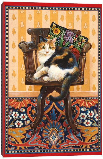 Becky On My Father's Desk Chair Canvas Art Print