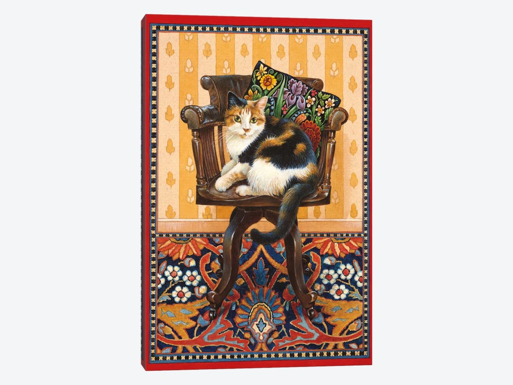 Becky On My Father's Desk Chair by Ivory Cats 1-piece Canvas Artwork