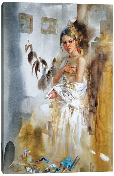 In The Artist's Studio Canvas Art Print