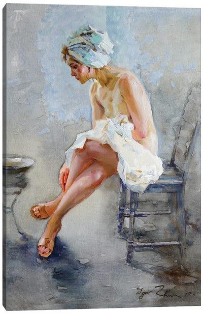 In The Bathroom Canvas Art Print