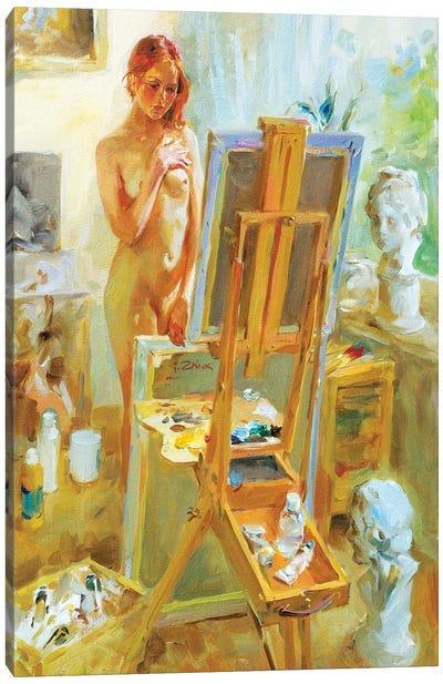 Model In Atelie Canvas Art Print