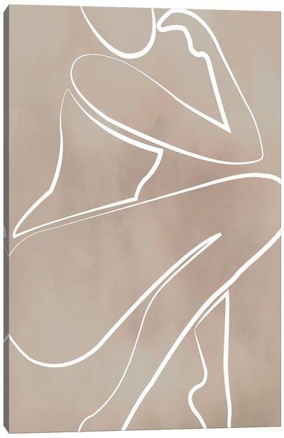 Female Thinker Beige Canvas Art Print