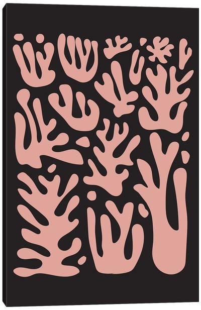 Coral Pink On Black Canvas Art Print