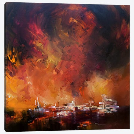 Sun Red Skies Canvas Print #JAB26} by J.A Art Canvas Art