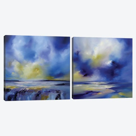 Blue Symphony Diptych Canvas Print Set #JAB2HSET001} by J.A Art Canvas Print