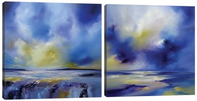 Blue Symphony Diptych Canvas Art Print
