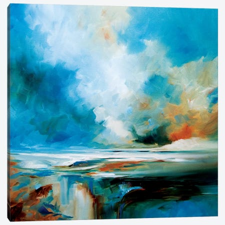Aqua Haze Canvas Print #JAB45} by J.A Art Canvas Artwork