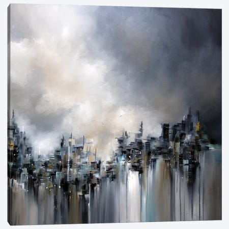 Smoke City Canvas Print #JAB80} by J.A Art Canvas Art Print