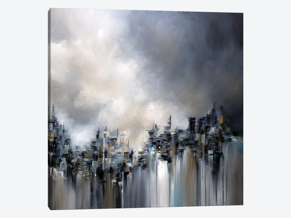 Smoke City by J.A Art 1-piece Canvas Artwork