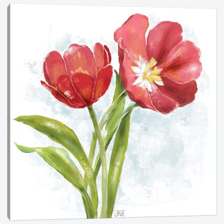 Red Tulip Splash I 3-Piece Canvas #JAD124} by Jade Reynolds Canvas Art