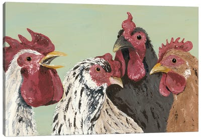 Four Roosters Canvas Art Print