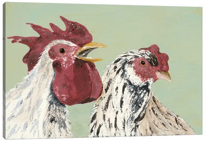 Four Roosters White Chickens Canvas Art Print