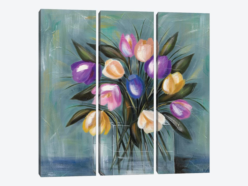 Mixed Pastel Bouquet II by Jade Reynolds 3-piece Canvas Art Print