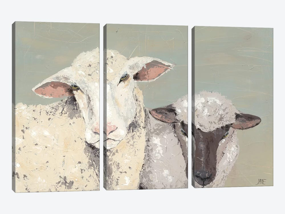 Sweet Lambs I by Jade Reynolds 3-piece Canvas Artwork