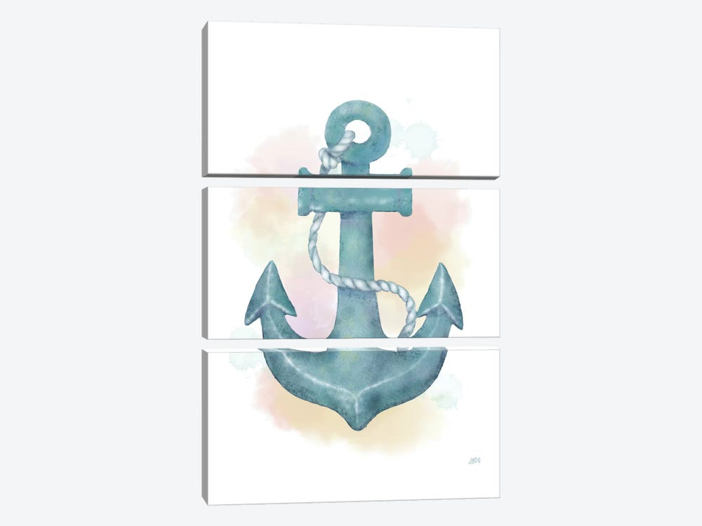 Watercolor Anchor by Jade Reynolds 3-piece Canvas Artwork