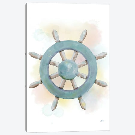 Watercolor Ship's Wheel Canvas Print #JAD20} by Jade Reynolds Canvas Print