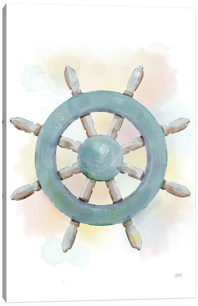 Watercolor Ship's Wheel Canvas Art Print