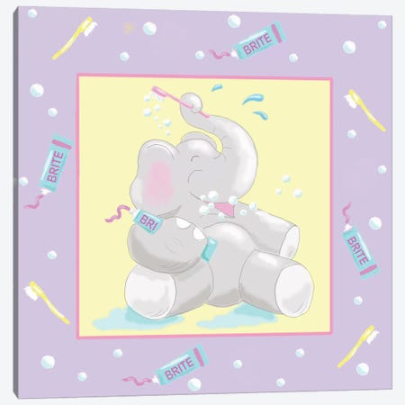 Baby Elephant Bath I Canvas Print #JAD21} by Jade Reynolds Canvas Art Print