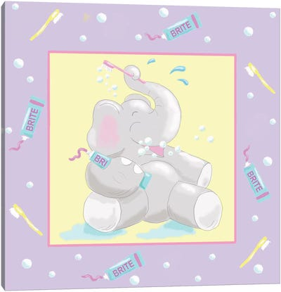 Baby Elephant Bath I Canvas Art Print