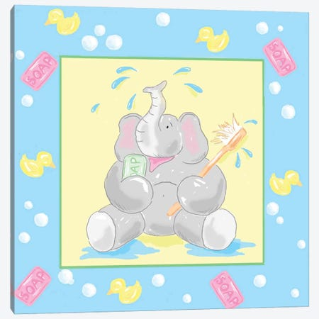 Baby Elephant Bath II Canvas Print #JAD22} by Jade Reynolds Canvas Art Print