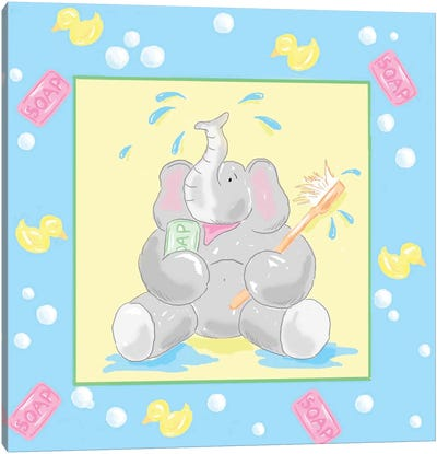 Baby Elephant Bath II Canvas Art Print