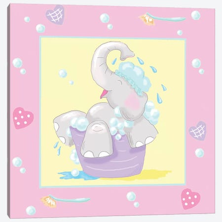 Baby Elephant Bath III Canvas Print #JAD23} by Jade Reynolds Art Print
