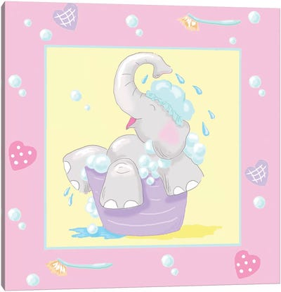 Baby Elephant Bath III Canvas Art Print