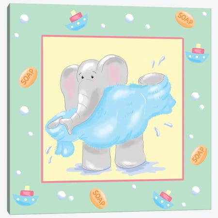 Baby Elephant Bath IV Canvas Print #JAD24} by Jade Reynolds Canvas Artwork