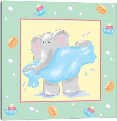 Baby Elephant Bath IV Canvas Art Print