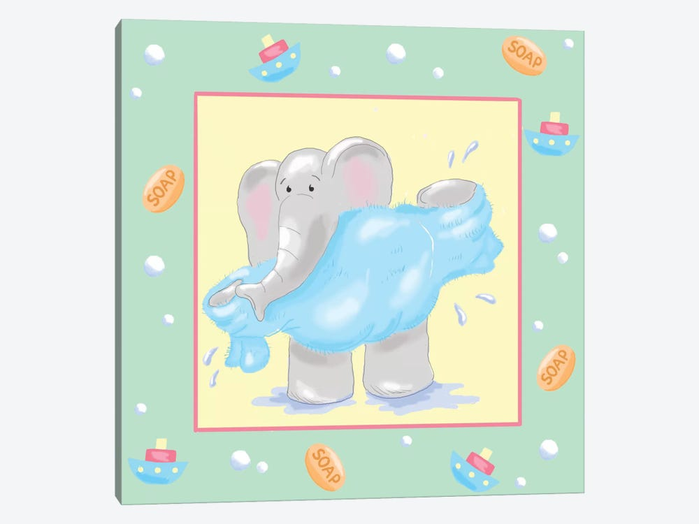 Baby Elephant Bath IV by Jade Reynolds 1-piece Canvas Art