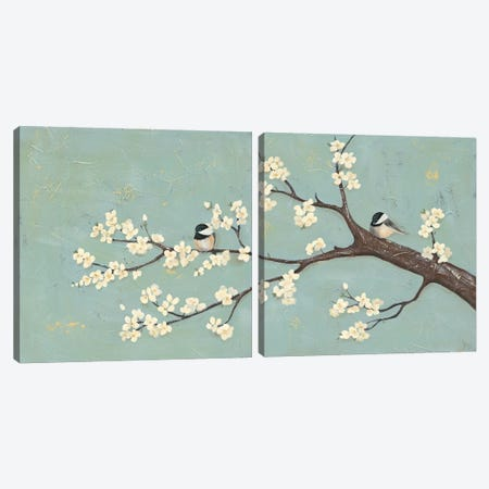 Chickadee & Dogwood I Canvas Print Set #JAD2HSET002} by Jade Reynolds Art Print