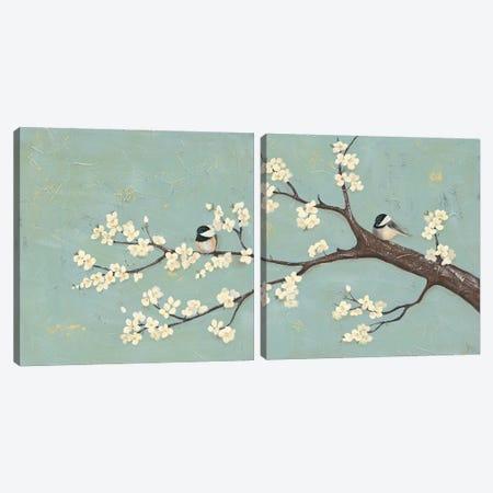 Chickadee & Dogwood I Canvas Print Set #JAD2HSET002} by Jade Reynolds Art Print