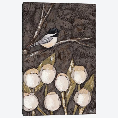 Chickadee & Tulips I Canvas Print #JAD39} by Jade Reynolds Canvas Art