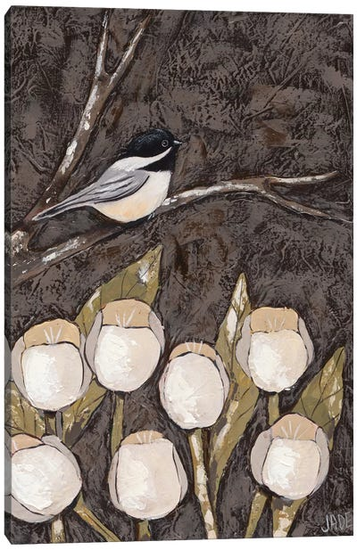 Chickadee & Tulips I Canvas Art Print